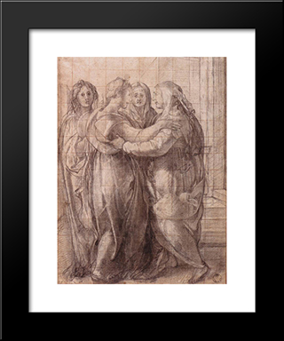 Visitation: Modern Black Framed Art Print by Jacopo Pontormo
