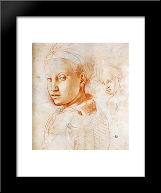 Study Of A Boy Turning His Head: Modern Black Framed Art Print by Jacopo Pontormo
