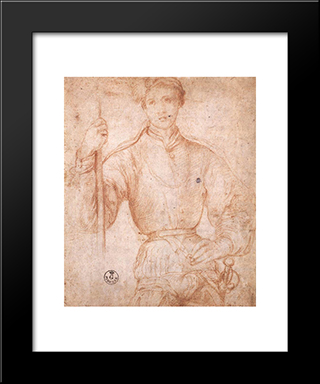 Halberdier: Modern Black Framed Art Print by Jacopo Pontormo