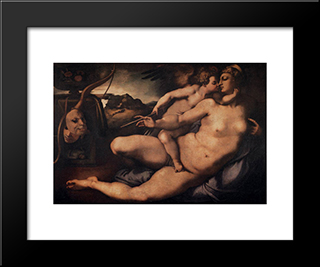 Venus And Cupid: Modern Black Framed Art Print by Jacopo Pontormo