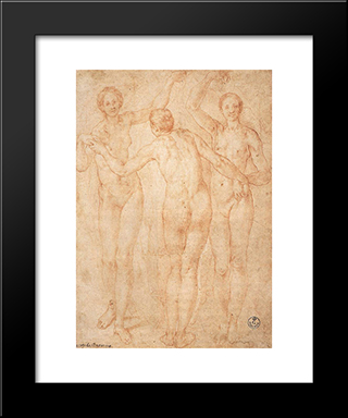 The Three Graces: Modern Black Framed Art Print by Jacopo Pontormo