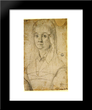 Study Of A Woman, Possibly Maria Salviati: Modern Black Framed Art Print by Jacopo Pontormo