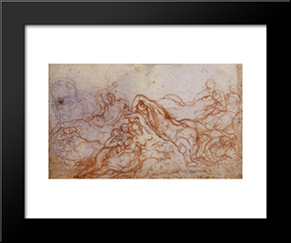 Study For The Deluge: Modern Black Framed Art Print by Jacopo Pontormo