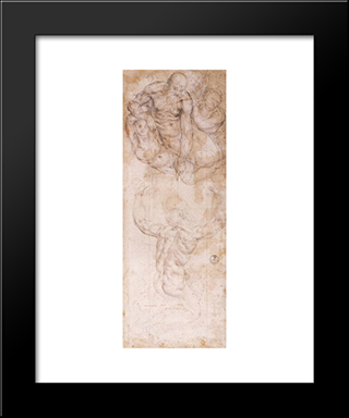 Study To 'Moses Receiving The Tablets Of Law': Modern Black Framed Art Print by Jacopo Pontormo
