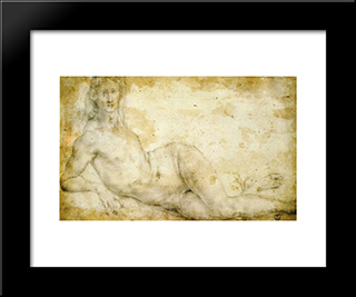 Female Nude: Modern Black Framed Art Print by Jacopo Pontormo