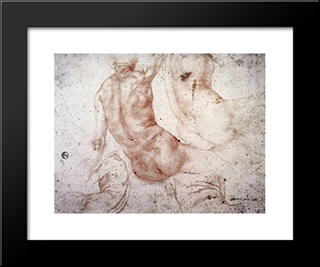 Seated Nude With Raised Arm: Modern Black Framed Art Print by Jacopo Pontormo