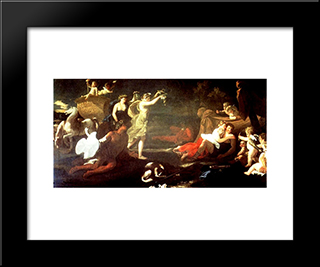 Cephalus And Aurora: Modern Black Framed Art Print by Nicolas Poussin