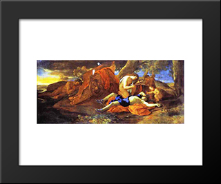 Venus Weeping Over Adonis: Modern Black Framed Art Print by Nicolas Poussin