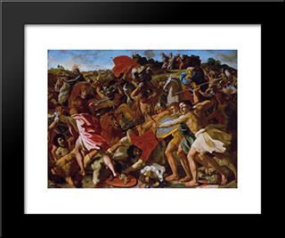 Victory Of Joshua Over The Amalekites: Modern Black Framed Art Print by Nicolas Poussin
