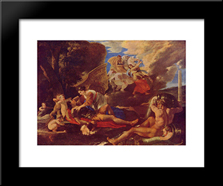 Rinaldo And Armida: Modern Black Framed Art Print by Nicolas Poussin