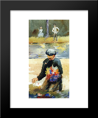 Picking Flowers: Modern Black Framed Art Print by Maurice Prendergast
