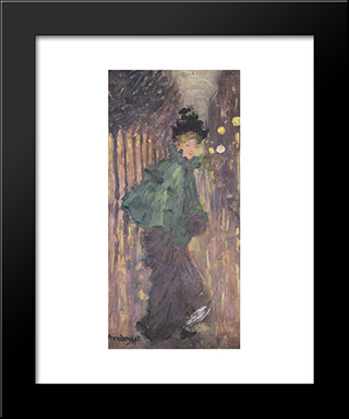 Lady On The Boulevard: Modern Black Framed Art Print by Maurice Prendergast