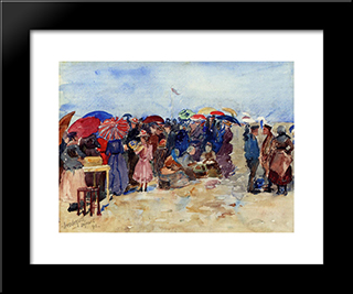Treport Beach (Also Known As A Very Sunny Day, Treport): Modern Black Framed Art Print by Maurice Prendergast