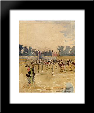 Paris Boulevard In The Rain: Modern Black Framed Art Print by Maurice Prendergast