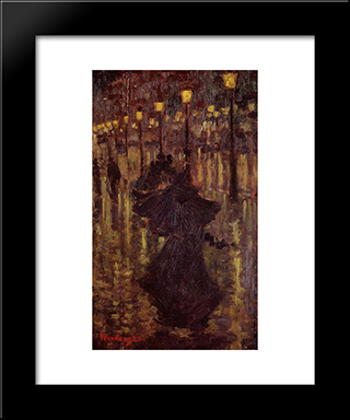 Evening Shower, Paris: Modern Black Framed Art Print by Maurice Prendergast