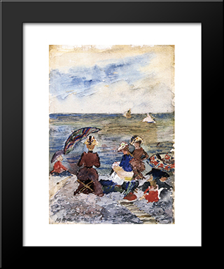 Figures On The Beach: Modern Black Framed Art Print by Maurice Prendergast
