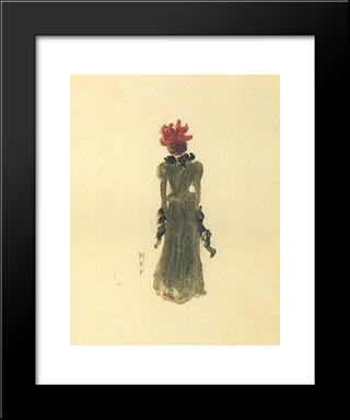 Green Dress: Modern Black Framed Art Print by Maurice Prendergast