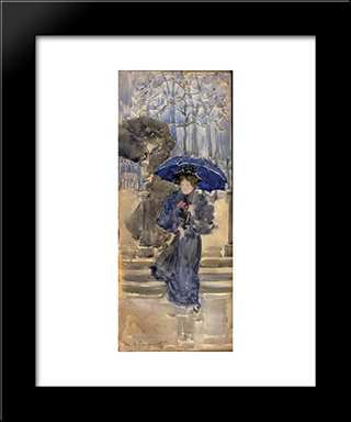 Ladies In The Rain: Modern Black Framed Art Print by Maurice Prendergast