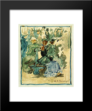 Ladies Seated On A Bench (Also Known As Ladies In The Park): Modern Black Framed Art Print by Maurice Prendergast