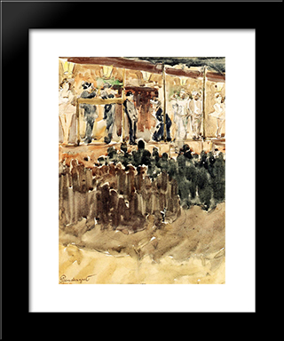 Side Show: Modern Black Framed Art Print by Maurice Prendergast