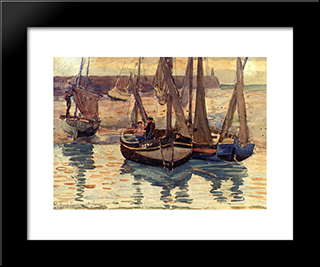 Small Fishing Boats, Treport, France: Modern Black Framed Art Print by Maurice Prendergast