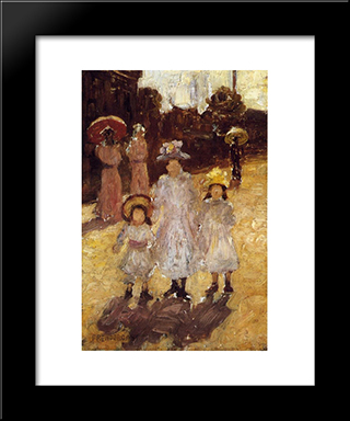 Sunday Morning, Paris: Modern Black Framed Art Print by Maurice Prendergast