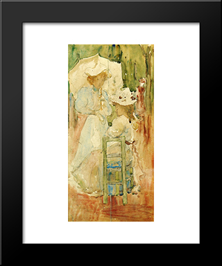 Two Women In A Park: Modern Black Framed Art Print by Maurice Prendergast