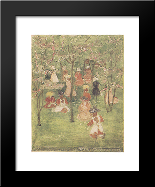 Spring In Franklin Park: Modern Black Framed Art Print by Maurice Prendergast