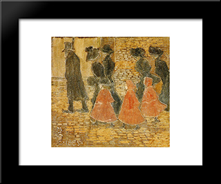 Three Little Girls In Red: Modern Black Framed Art Print by Maurice Prendergast