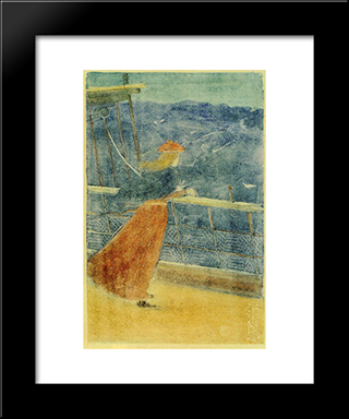 Woman On Ship Deck, Looking Out To Sea (Also Known As Girl At Ship S Rail): Modern Black Framed Art Print by Maurice Prendergast