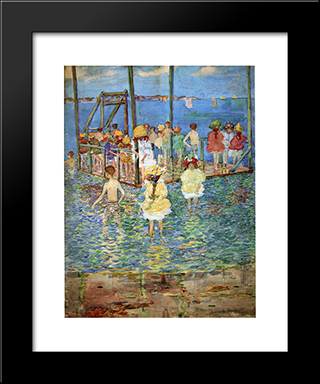 Children On A Raft: Modern Black Framed Art Print by Maurice Prendergast
