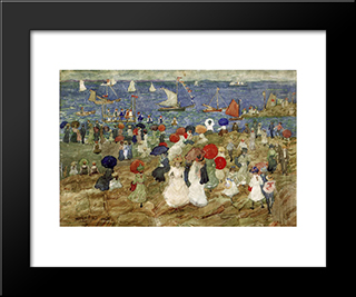 Nantasket Beach (Also Known As Handkerchief Point): Modern Black Framed Art Print by Maurice Prendergast
