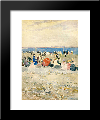 Revere Beach: Modern Black Framed Art Print by Maurice Prendergast