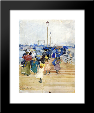 South Boston Pier (Also Known As Atlantic City Pier): Modern Black Framed Art Print by Maurice Prendergast