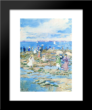 Summer Visitors: Modern Black Framed Art Print by Maurice Prendergast