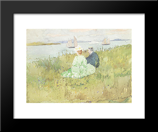 Viewing The Ships: Modern Black Framed Art Print by Maurice Prendergast
