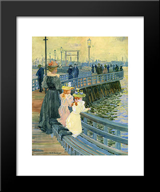 City Point Bridge: Modern Black Framed Art Print by Maurice Prendergast