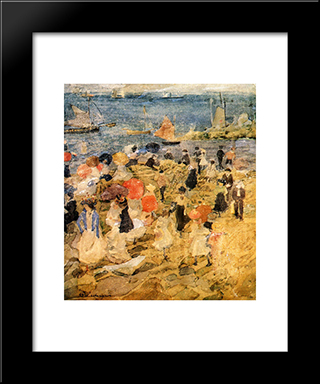 Early Beach: Modern Black Framed Art Print by Maurice Prendergast