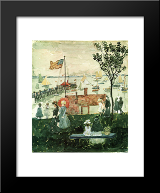 Excursionists, Nahant: Modern Black Framed Art Print by Maurice Prendergast