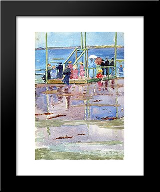 Float At Low Tide, Revere Beach (Also Known As People At The Beach): Modern Black Framed Art Print by Maurice Prendergast