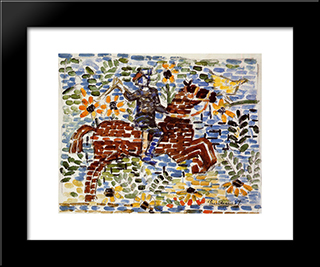 The Rider: Modern Black Framed Art Print by Maurice Prendergast