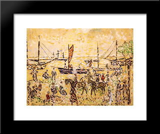 The Shore: Modern Black Framed Art Print by Maurice Prendergast