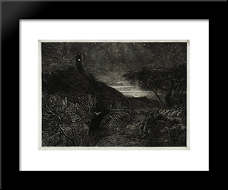 The Lonely Tower: Modern Black Framed Art Print by Samuel Palmer