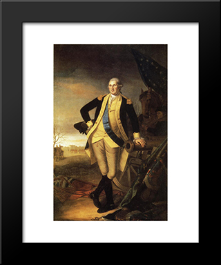 Washington After The Battle Of Princeton, New Jersey: Modern Black Framed Art Print by Charles Willson Peale