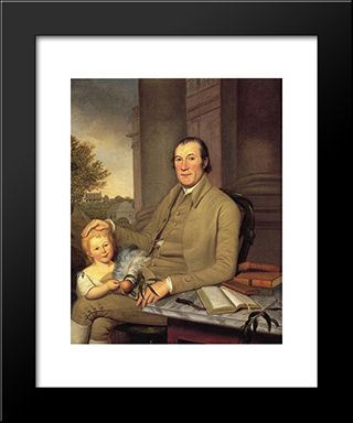 William Smith And His Grandson: Modern Black Framed Art Print by Charles Willson Peale