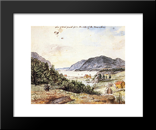 View Of West Point From The Side Of The Mountain: Modern Black Framed Art Print by Charles Willson Peale