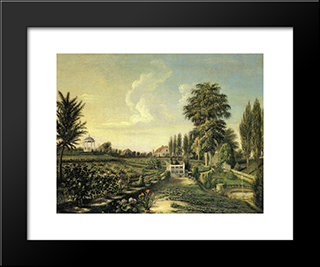 View Of The Garden At Belfield: Modern Black Framed Art Print by Charles Willson Peale