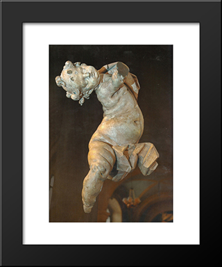 Putti: Modern Black Framed Art Print by Johann Georg Pinzel