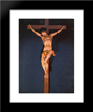 Crucifixion: Modern Black Framed Art Print by Johann Georg Pinzel