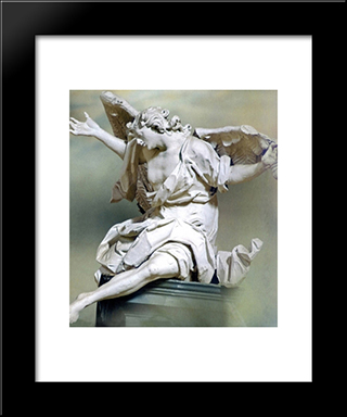 Angel: Modern Black Framed Art Print by Johann Georg Pinzel